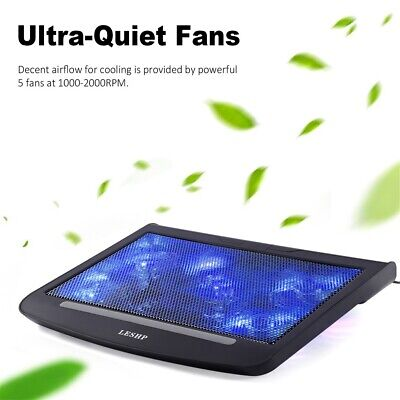 "Laptop Cooling Cooler Pad Stand 5 Fan 2 USB Computer Mat for 11""-17"" Notebook @"