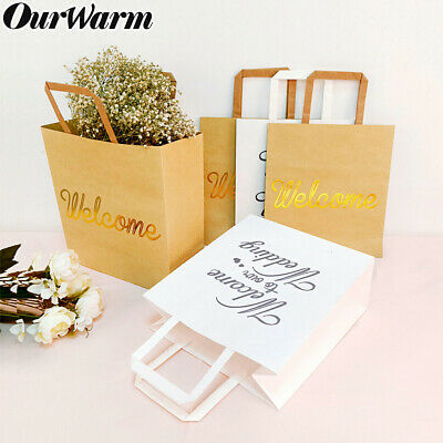 5xLarge Kraft Paper Gift Bags Brown White Wedding Party Favors Bag with Handles