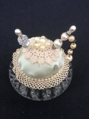 Vintage style handmade pin cushion with pretty pins, Vintage Lace in Glass Dish