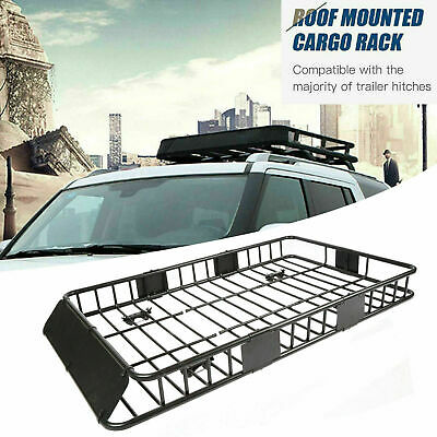 """64"""" Universal Steel Roof Rack Cargo Carrier w/ Extension Luggage Hold Basket SUV"""