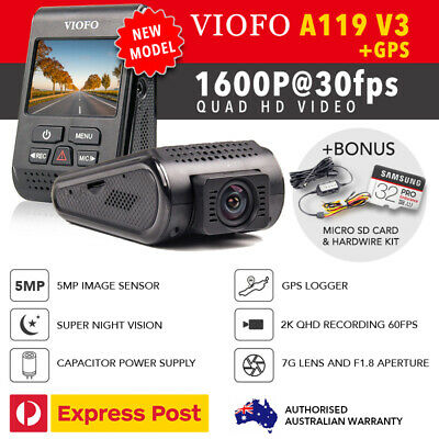 Viofo A119 V3 QuadHD 2560*1600P@30FPS GPS + HW Kit & Bonus 32GB, New 2019 Model