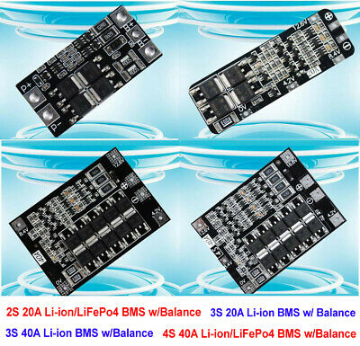 2S 3S 4S Lipo Li-ion LiFePo4 18650 Battery Protection Board Balance BMS PCM 40A