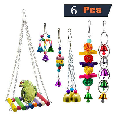 6X Beaks Metal Rope Small Parrot Budgie Cockatiel Cage Cage Bird Toys Net Set