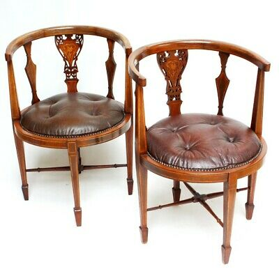 Pair of Antique Inlaid Mahogany and Leather Tub Chairs [5375]
