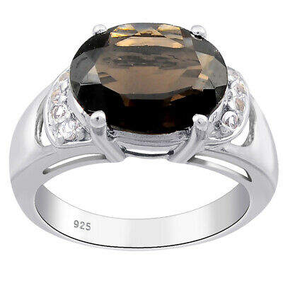 4.12 Ct Oval Shape Brown Smoky Quartz Topaz 925 Sterling Silver Halo Ring #5C