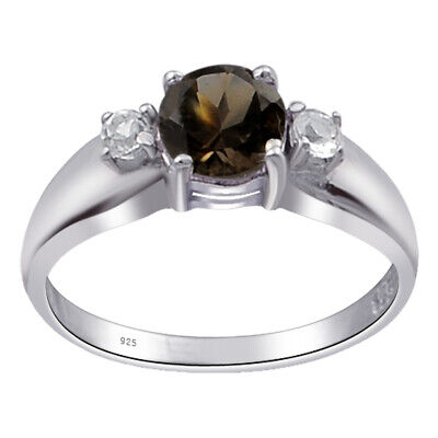 1 Ct Round Shape Brown Smoky Quartz Topaz 925 Sterling Silver Promise Ring #1E