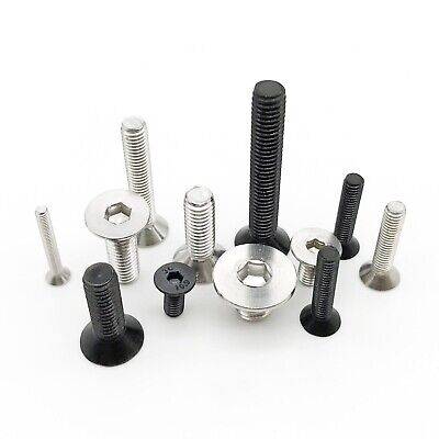 10/50 M2M2.5M3M4M5M6M8 Hex Allen Hexagon Socket Flat Countersunk Head Screw Bolt