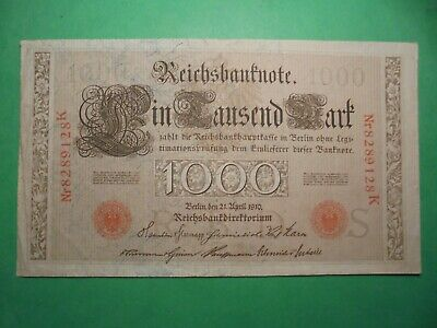Large 1000 Mark German Banknote 21/4/1910 109 Years Old Red Seal.