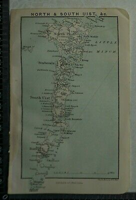 1892 Vintage Bartholomew Map of North & South Uist, Scotland