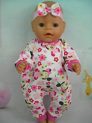 "Dolls clothes for 17"" Baby Born/Cabbage patch Doll~MINNIE MOUSE FLORAL JUMPSUIT"
