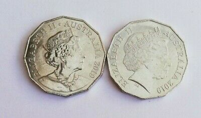 2 x 2019 50 Cent Coins - Two Different Effigy - From Mint Bag