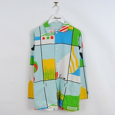 Vintage 70s Patterned Pop Art Print French Worker Chore Jacket Size S Retro