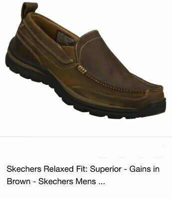 cbfb5975da5a75 SKECHERS Men Relaxed Fit Superior Gains Leather Slip-On Loafer Shoes Brown  Sz 10