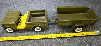 Vintage Structo Army Vehicles (Lot Of 3) Pickup Scout & Trailer Pressed Steel