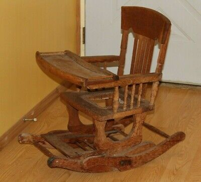 very rare Victorian  ANTIQUE ADJUSTABLE  BABY HIGH CHAIR / ROCKER