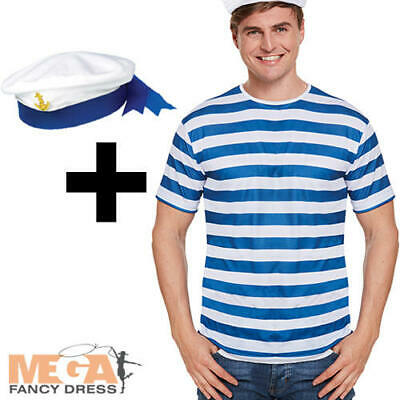NEW MENS LADIES FANCY DRESS SHIP SAILOR STYLE BLUE AND WHITE STRIPED T SHIRT TOP