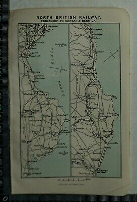 1892 Vintage Bartholomew Map of North British Railway, Scotland