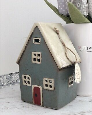 15cm Ceramic Grey  Pottery House Country Cottage Ornament Tea Light Holder Gift