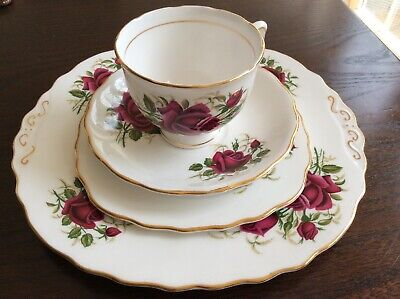 Vintage Colclough Roses Tea Cup Saucer Side Plate And Plate Fine Bone China