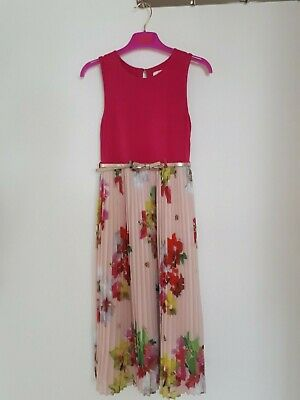 Baker by Ted Baker Girls Pleated Tunic Maxi Dress Orchid Print Age 9 years Pink