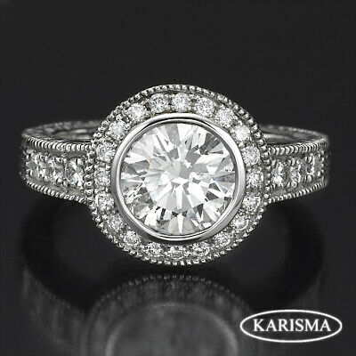 1 Carats Diamond Ornate Style Ring Vs1 14 Kt White Gold Ladies New Size 4.5 - 9