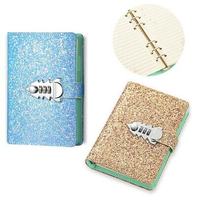 Refillable Leather Bound Journal with Password Lock for Grils, A6 Glitter Cover