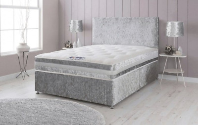 Crushed Velvet Divan Bed With Storage + Orthopedic Mattress All Sizes + Free Hb