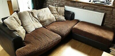 Brown leather and fabric sofa with foot pouffe and cushions