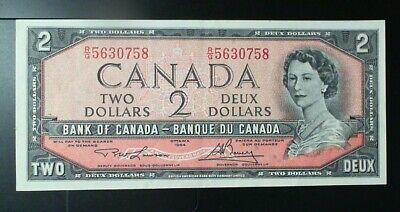 1954 Bank Of Canada  ($2.00 ) Two Dollar Banknote Lawson Bouey