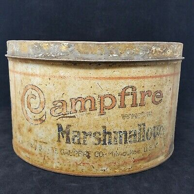 VTG Distressed Large Campfire Marshmallows Advertising 5 Lbs Tin Can with Lid