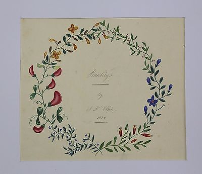Couronne de fleurs aquarelle 1829 collection Edgard Fournier(1865-1930) Suresnes
