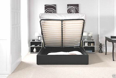Choose Standard Or Ottoman Storage Leather Bed Black Brown White With Mattress