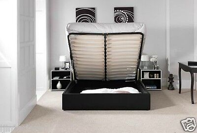 4Ft6 5Ft Standard Or Ottoman Storage Leather Bed Black Brown White With Mattress