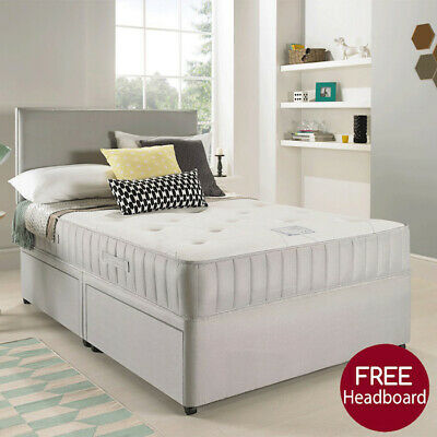 SUEDE DIVAN BED SET + MEMORY MATTRESS + HEADBOARD 3FT 4FT 4FT6 Double 5FT