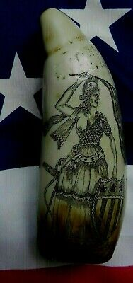 Faux Scrimshaw Freedom & Liberty USA & Whaler Ship Exquisite Quality