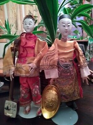 "Rare Original Antique Chinese Qing Dynasty Opera 10""  Dolls. 1900's to 1940's"