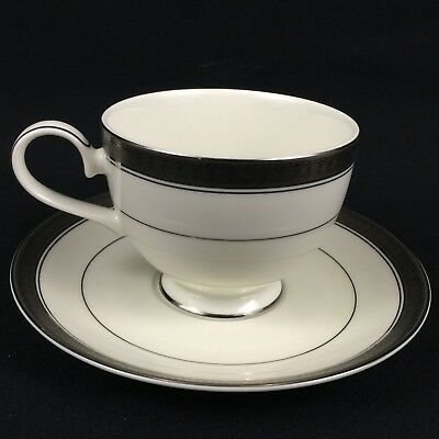 Footed Cup and Saucer Palatial Platinum by Mikasa Fine China L3235