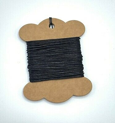 10m x 1mm Black Waxed Cotton Thong Cord - Continuous Length - Jewellery Cord