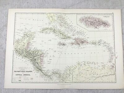 1882 Antique Map of The Caribbean West Indies Bahama Islands 19th Century