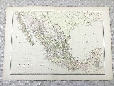 1882 Antique Map of Mexico Mexican South America Old Original 19th Century