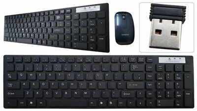 Black 2.4Ghz Slim Wireless Cordless USB PC Laptop Keyboard & Optical Mouse Cambo