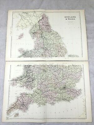 1882 Antique Map of England Wales Britain Isle of Man Old Original 19th Century