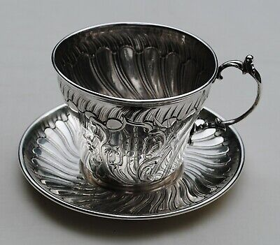 ANTIQUE FRENCH STERLING SILVER LARGE CUP & SAUCER ROCOCO LOUIS XV 290 grams