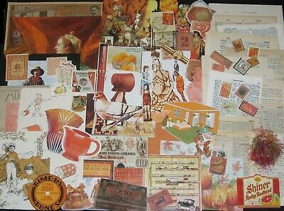 200pc!ORANGE Sampler Pack~Vtg Collage Art/Junk Journal Paper Craft Media Mix Lot