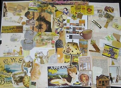 175pc!YELLOW Sampler Pack~Vtg Collage Art/Junk Journal Media Mix&Paper Craft Lot