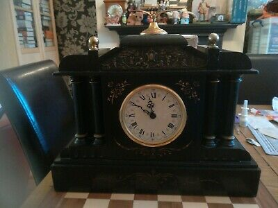 Antique Victorian 19th Century Slate Ornate Mantel Clock with 4 Columns 15.9 kg