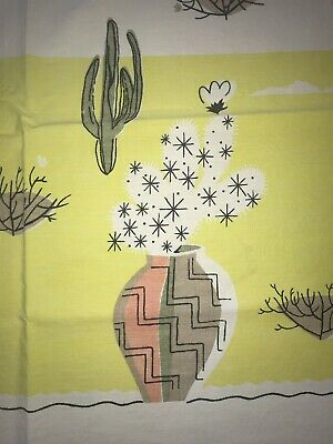 Vtg Cotton Tablecloth Cactus Mexican Mid Century Star 44x45 Desert Pottery