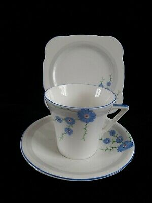 Art Deco CWS Windsor China Handpainted Cup Saucer Plate Trio