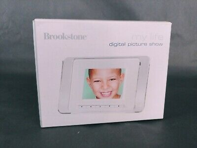 "Brookstone my life digital picture show 3"" frame desktop countertop small footpr"