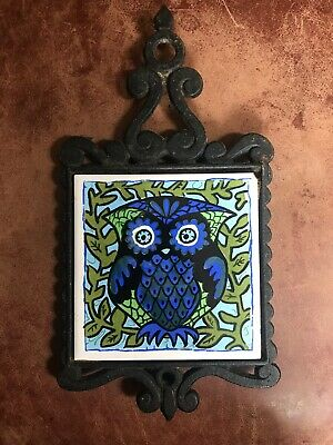 Vintage Cast Iron Owl Tile Trivet Pot Holder Kitchen Decor Retro Wall Hanging